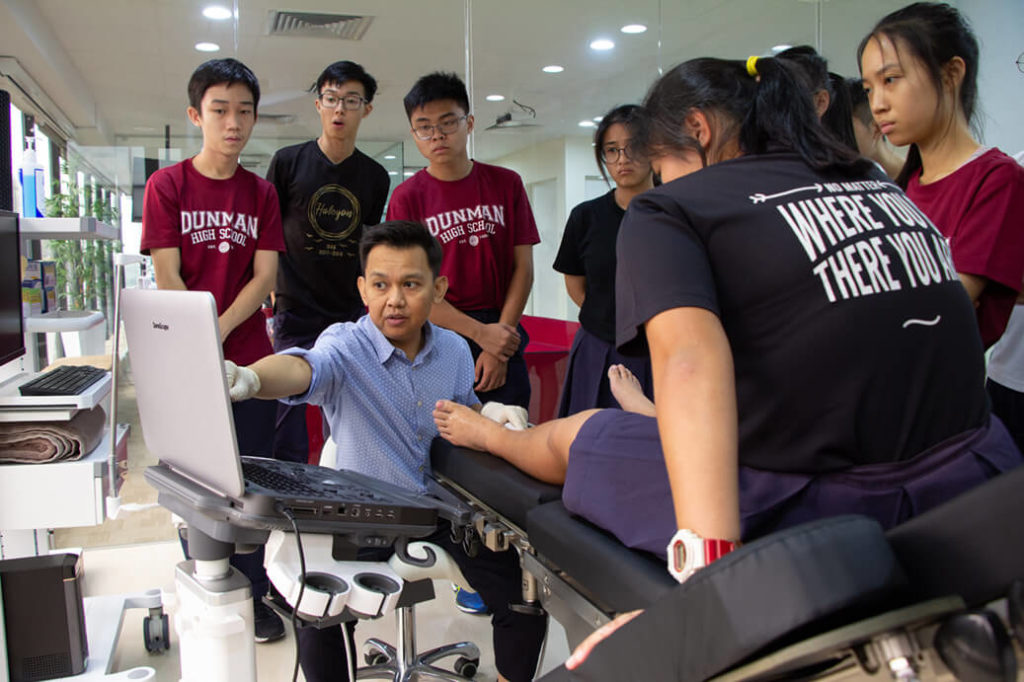 ECP | DHS Students with Podiatrist Sani