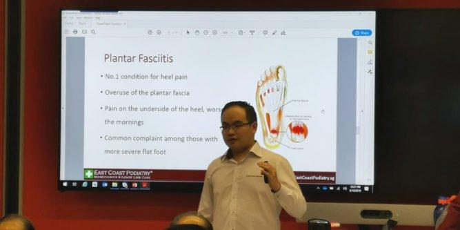 Podiatrist Ben giving a presentation on Plantar Fasciitis