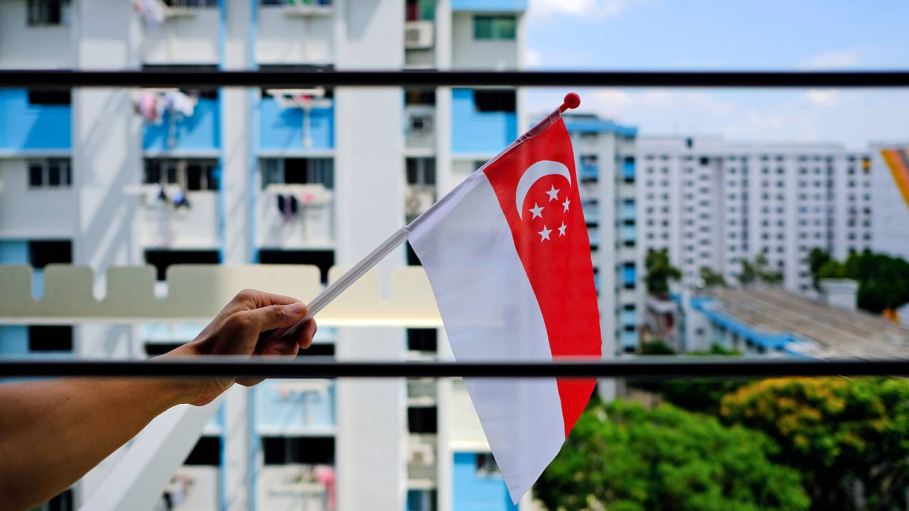 Singapore Flag Waving From Home
