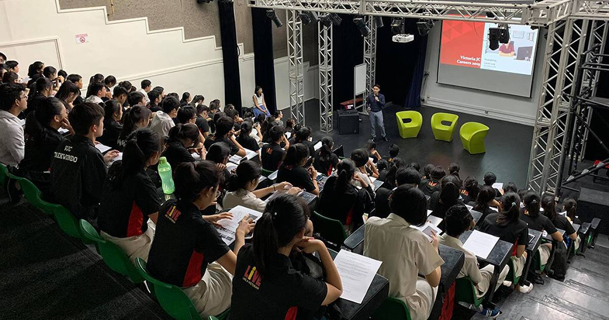 Speaking at Victoria Junior College Careers Event